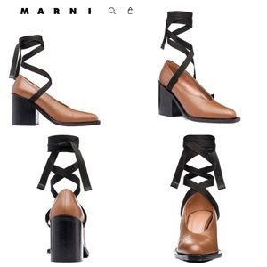 Marni Lambskin Cigar Vitello leather lace pump